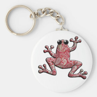 Red Pink White Paisley Frog Key Ring