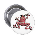 Red Pink White Paisley Frog Pin