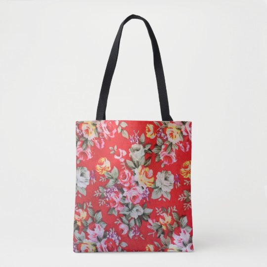 Red ,pink ,white,Yellow floral printed Tote Bag