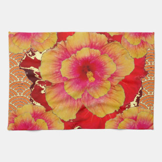 RED-Pink-Yellow Tropical Hibiscus Flowers Tea Towel