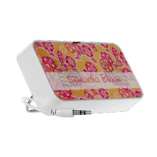 Red, Pink, Yellow & White Tropical Flowers Travel Speakers