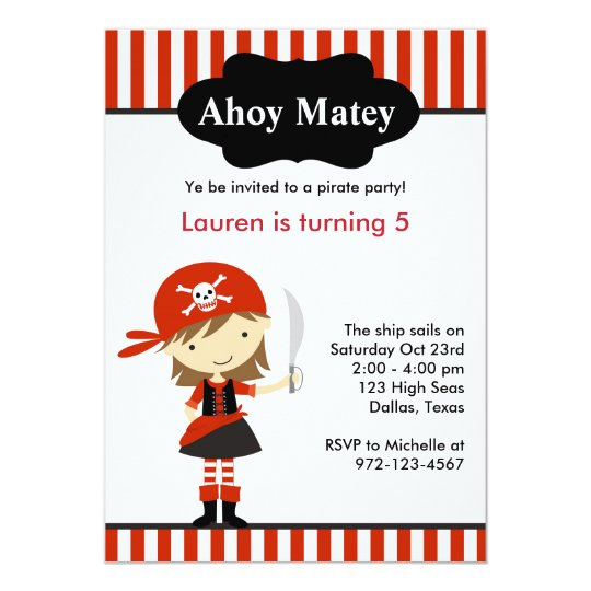 Red Pirate Girl Birthday Invitations