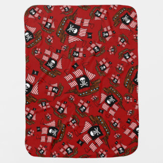 Red pirate ship pattern baby blanket