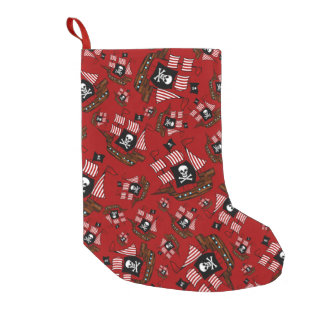 Red pirate ship pattern small christmas stocking