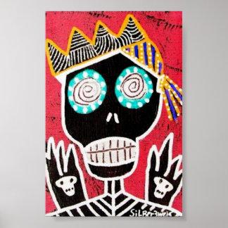 Red Pirate Sugar Skull Poster