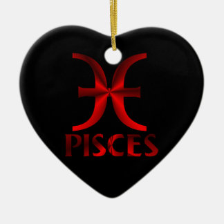 Red Pisces Horoscope Symbol Christmas Ornament