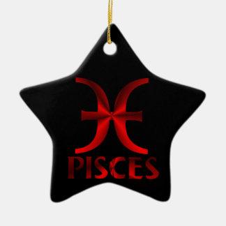 Red Pisces Horoscope Symbol Christmas Ornament