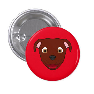 Red Pitbull Face 3 Cm Round Badge