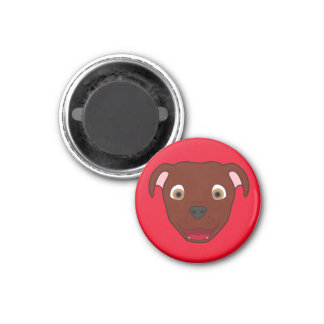Red Pitbull Face 3 Cm Round Magnet