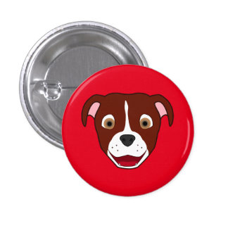 Red Pitbull Face with White Blaze 3 Cm Round Badge