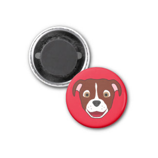 Red Pitbull Face with White Blaze 3 Cm Round Magnet