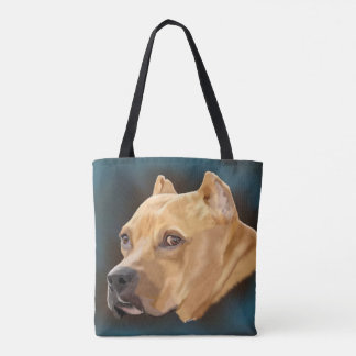 Red Pitbull Terrier Tote Bag