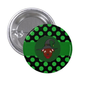 Red Pitbull Witch with Green Dots 3 Cm Round Badge