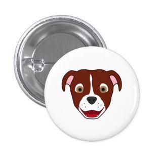 Red Pitbull with Blaze 3 Cm Round Badge