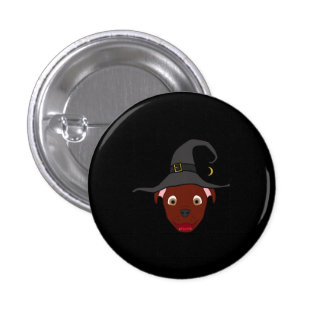 Red Pitbull with Witch Hat 3 Cm Round Badge