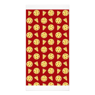 Red pizza pattern customized photo card