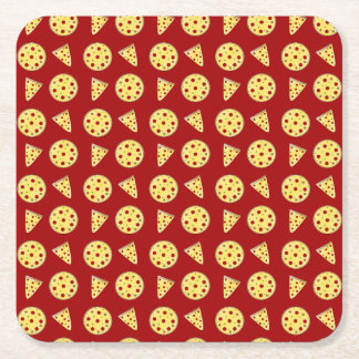 Red pizza pattern square paper coaster