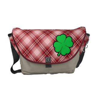 Red Plaid 4 Leaf Clover Messenger Bag