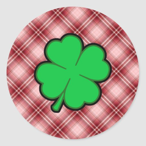 Red Plaid 4 Leaf Clover Stickers