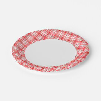 Red Plaid 7 Inch Paper Plate