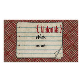 Red Plaid About Me Label Business Card