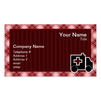 Red Plaid Ambulance Business Cards