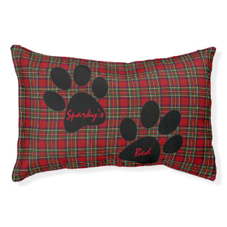 Red Plaid and Paw Prints Design Pet Bed