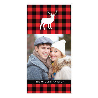 Red Plaid and White Stag | Holiday Card
