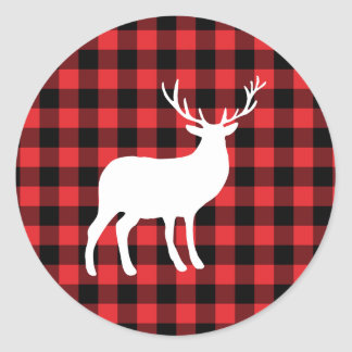Red Plaid and White Stag | Holiday Classic Round Sticker