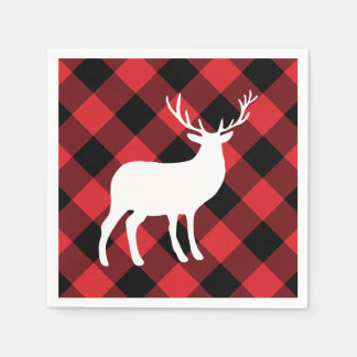 Red Plaid and White Stag | Holiday Paper Serviettes