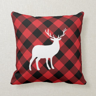 Red Plaid and White Stag | Holiday Pillow