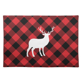 Red Plaid and White Stag | Holiday Placemat