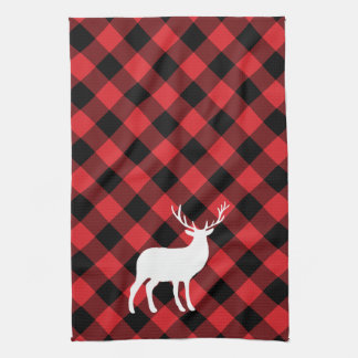Red Plaid and White Stag | Holiday Tea Towel