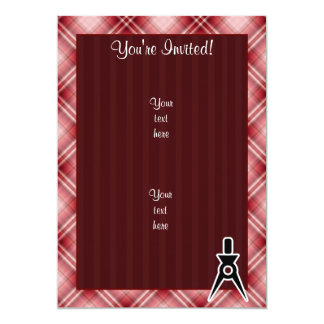 Red Plaid Architect 5x7 Paper Invitation Card