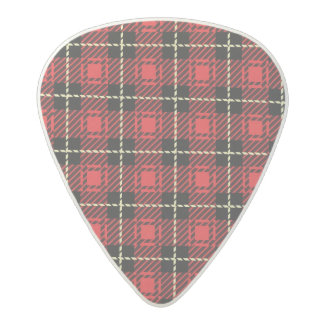 Red Plaid Background Acetal Guitar Pick