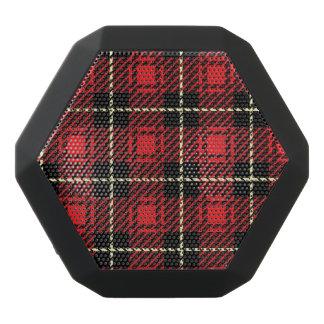Red Plaid Background Black Bluetooth Speaker