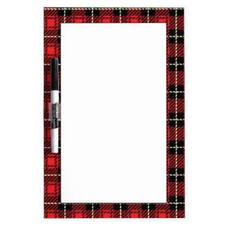 Red Plaid Background Dry Erase White Board