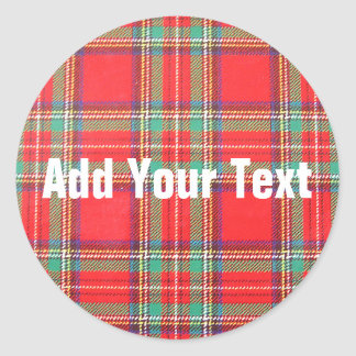 Red Plaid Background for Custom Text Stickers