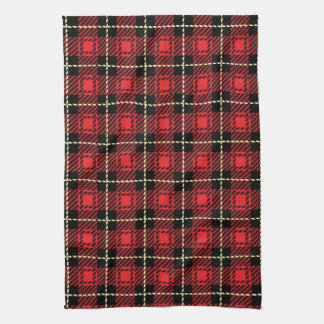 Red Plaid Background Hand Towels