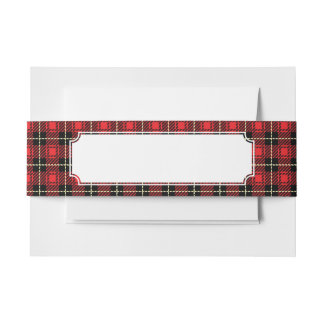 Red Plaid Background Invitation Belly Band