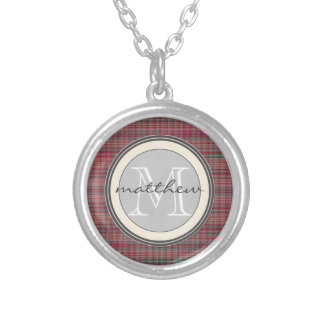 Red Plaid Background monogram Silver Plated Necklace