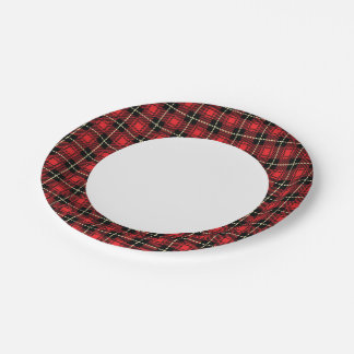 Red Plaid Background Paper Plate
