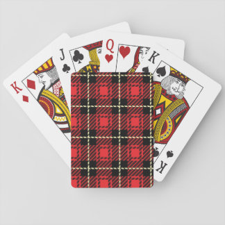 Red Plaid Background Poker Deck