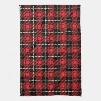 Red Plaid Background Tea Towel