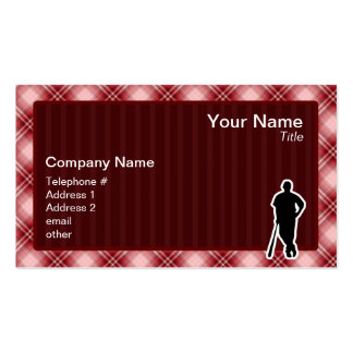 Red Plaid Baseball Player Double-Sided Standard Business Cards (Pack Of 100)