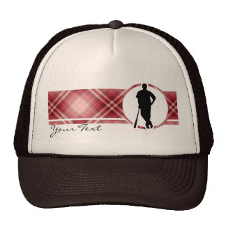 Red Plaid Baseball Player Trucker Hat