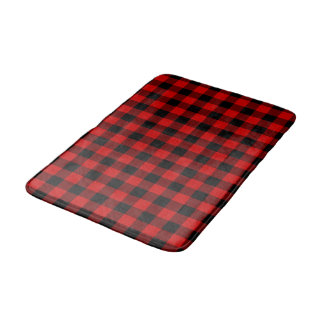 Red Plaid Bath Mat