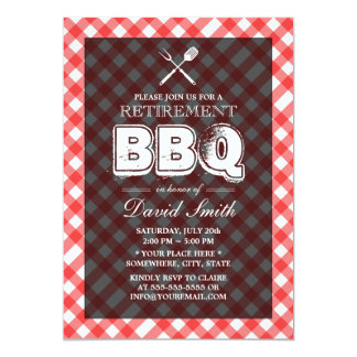 Red Plaid BBQ Retirement Party Invitations
