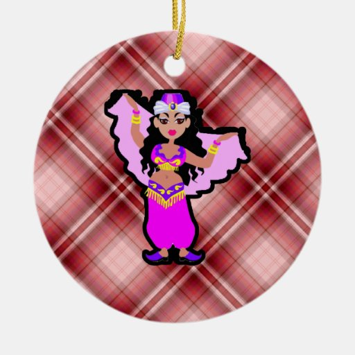 Red Plaid Belly Dancer Christmas Tree Ornaments
