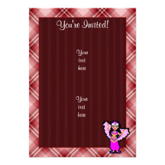 Red Plaid Belly Dancer Personalized Announcements